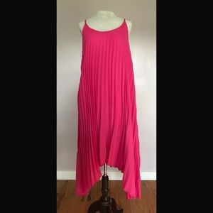 Hot Pink Pleated Trapeze Dress